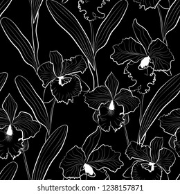 Seamless orchid flowers sketched cattleya pattern black background