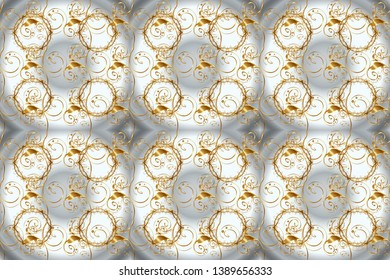 Seamless oriental classic golden pattern. Raster abstract background with golden repeating elements on a neutral and gray colors.