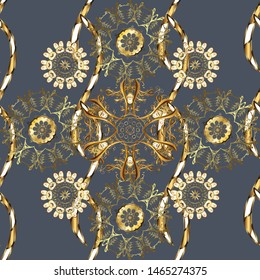 Seamless oriental classic golden pattern. Abstract background with golden repeating elements on a blue and brown colors.