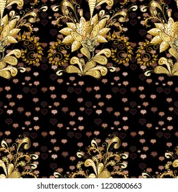 Seamless oriental ornament in the style of baroque. Traditional classic golden seamless pattern. Golden elements on brown, beige and black colors.