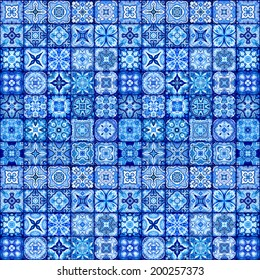 seamless ornament background, vintage ornate pattern, blue and white patchwork tiles