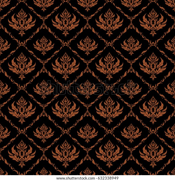 Seamless ornament in brown colors on a black background. Distressed damask seamless pattern background tile.