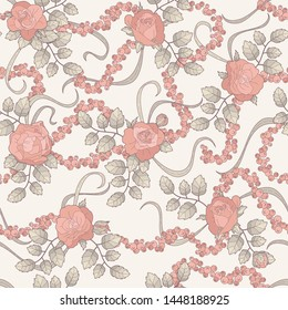 seamless ornament, floral pattern with coral roses, buds, leaves, branches, iridescent blades of grass and berries gyrandas, mountain ash, currants on the light cream backdrop
