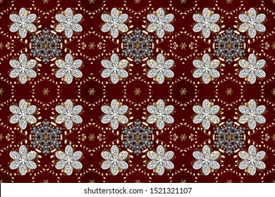 Seamless ornament. Royal style. Sketch, scribble, doodle on white, brown and red colors. Raster. Lace pattern. Linear pattern. Geometric pattern. In vintage style. Repeated doodles. Raster.