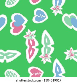 Seamless ornament with venetians masks,flowers, hearts, dashed line, label. Hand drawn.
