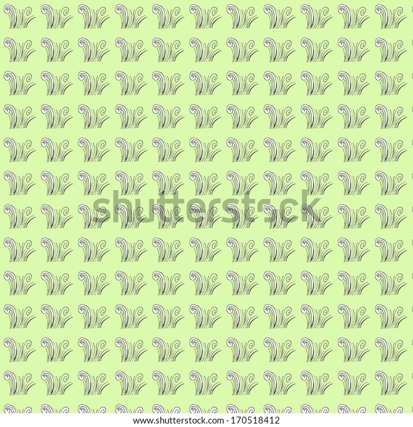 Seamless ornamental stylized grass pattern with light green background