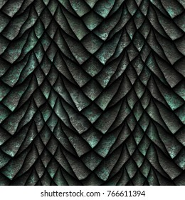 Seamless oxide metallic texture of dragon scales, reptile skin, 3d illustration