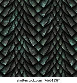 Seamless oxide metallic texture of dragon scales, reptile skin, 3d illustration
