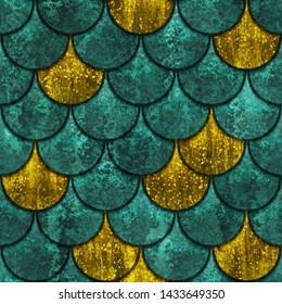 Seamless oxide metallic texture of fish scales, fish skin, copper and gold color, 3d illustration