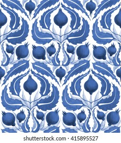 Seamless painted pattern in shades of blue inspired by William Morris textiles and Uzbek patterns. Fabric, wallpaper, interior classic decorative pattern design. English style floral ornament.