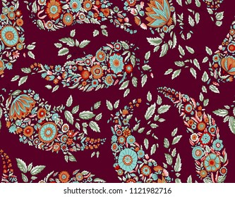Seamless Paisley Floral Design
