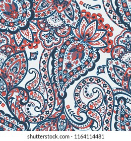 Seamless Paisley pattern in asian ethnic style. Floral illustration