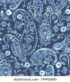 seamless paisley pattern with beautifully balanced composition.  Stamped classic paisley allover design. blue indigo Indian cucumber pattern.
