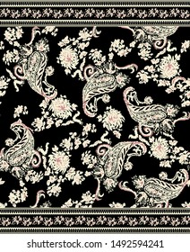 seamless paisley pattern with black background
