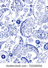 seamless paisley pattern. elegant ethnic paisley pattern, allover composition. detailed beautiful paisleys with floral motives and embellishments.