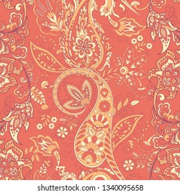 Seamless Paisley pattern in indian style. Floral illustration