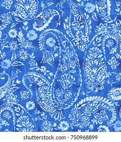 seamless paisley pattern in indigo blue colors with jeans style watercolor effect. Indian cucumber design.