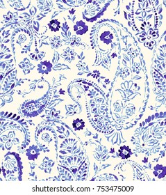 Seamless paisley pattern with stamped distressed look. Ethnic authentic decorative textile. Handmade paisley design.