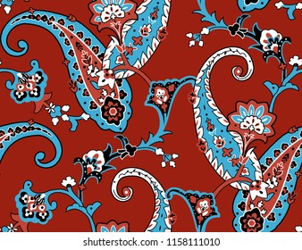 Seamless  Paisley Pattern for Textile Print for printed fabric design for Womenswear, underwear, activewear kidswear and menswear and Decorative Home Design, Wallpaper Print, Tattoo Print