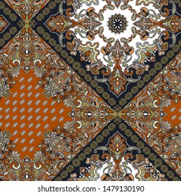 seamless paisley pattern with trend colors for bed linen .textiles, fabrics, souvenirs, packaging, greeting cards and scrapbooking,shawl