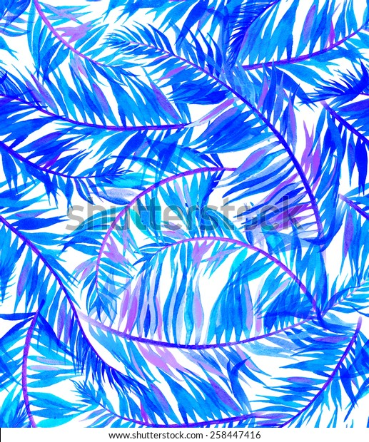 seamless palm leaves pattern. large palmera leaves in an intense summer layout. saturated stylized colors.