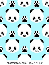 Seamless panda head and foots pattern on blue background.childish print.- illustration