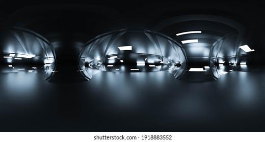 seamless panorama 360 angle view of dark modern futuristic building interior hdri style VR content 3d render illustration
