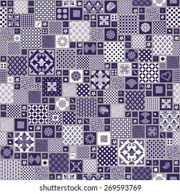 Seamless patchwork background from dark blue and beige oriental ornaments, polka dot patterns, stylized flowers and leaves