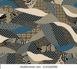 Seamless Patcwork Pattern for Textile Print and Wallpaper Design