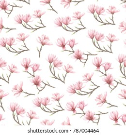 Seamless patern with magnolia flower. Watercolor hand drawn illustration
