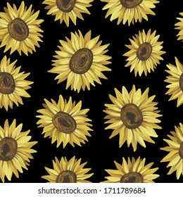 Seamless pattarn sunflowers. Hand painting, naturalistic yellow-orange flowers. Summer print. Design for fabric, textile, packaging, flower shop, website, floristry.