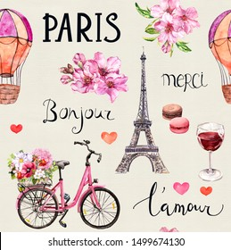 Seamless pattern about Paris, France. Pink flowers, bicycle, wine, macaroons, Tour Eiffel, air balloon and french words