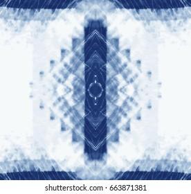 Seamless pattern, abstract batik tie dyed fabric of indigo color on white cotton. Hand painted tie-dye fabrics. Shibori dyeing