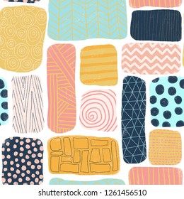 Seamless pattern abstract blocks. Square and rectangle doodle shapes with different textures. Mosaik puzzle style background blue, gold, pink, coral. Cute feminine colorful hand drawn illustration.