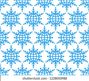 Seamless pattern of the abstract globe snowflakes