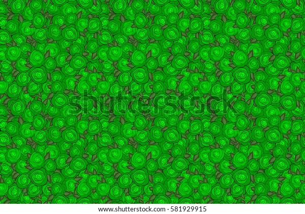 Seamless pattern with abstract green stylized roses and green leaves. Raster illustration.