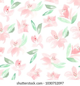 Seamless pattern with abstract lily. Watercolor hand drawn illustration