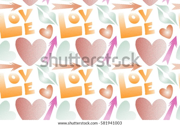 Seamless pattern abstract love elements in pink and orange colors. Contain hearts, cupid's arrow, lipstick kisses and love word on a white backdrop. Valentine's day art.