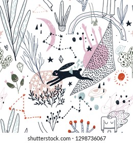 Seamless pattern with a lot of abstract things: plants, constellations, moon etc.