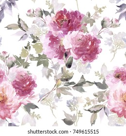 Seamless pattern with abstract watercolor peonies on a white background. Vintage composition.