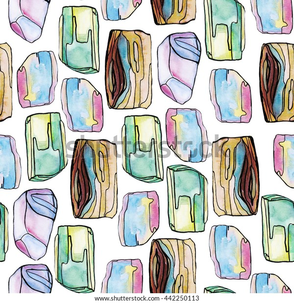 Seamless pattern with abstract watercolor stones elements in soft rose, green, blue colors on white background.