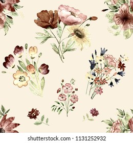 seamless pattern abstracts floral flowers composition