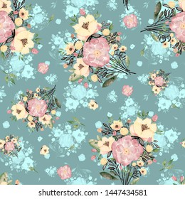 seamless pattern abstracts flowers composition