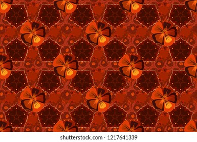 Seamless pattern of abstrat cosmos flowers in red, orange and brown colors. Vintage style. Stock raster illustration.