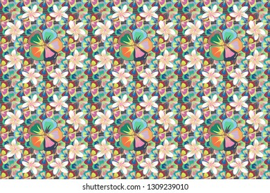 Seamless pattern of abstrat cosmos flowers in white, beige and blue colors. Vintage style. Stock raster illustration.