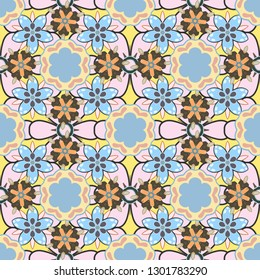 Seamless pattern of abstrat flowers in blue, beige and yellow colors. Vintage style. Stock illustration.