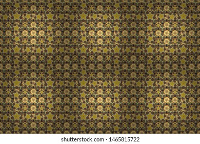 Seamless pattern of abstrat flowers in brown, orange and yellow colors. Stock raster illustration. Vintage style.