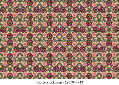 Seamless pattern of abstrat flowers in green, gray and pink colors. Stock raster illustration. Vintage style.