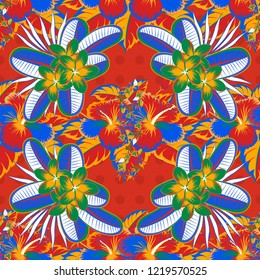 Seamless pattern of abstrat hibiscus flowers in red, orange and blue colors. Vintage style. Stock illustration.