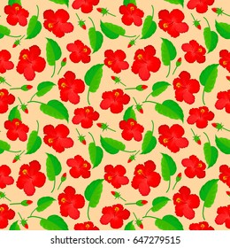 Seamless pattern of abstrat hibiscus flowers on a beige background. Vintage style. Stock illustration.